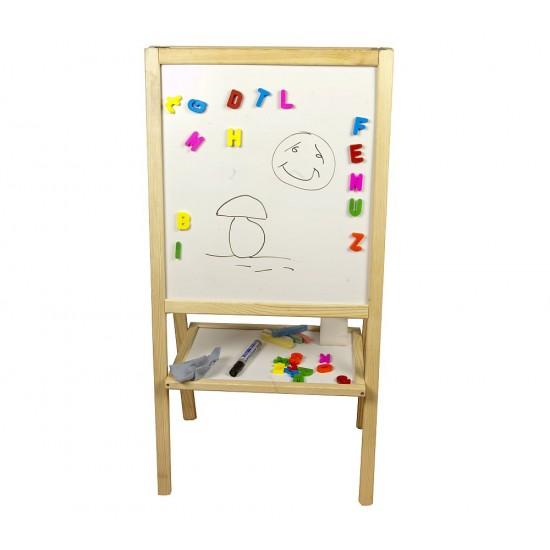 Tabla de scris medie 2 in 1, cu suport si acesorii, pentru copii - lemn natur